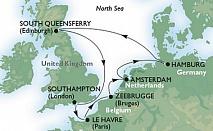 Само до петък: 11 дневен круиз Хамбург – Единбург – Лондон – Льо Хавър – Брюж - Амстердам - Хамбург само за 1426 лв