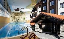 Нощувка на човек с изхранване по избор + топъл басейн и релакс пакет в хотел Сънрайз**** Банско, на метри от лифта