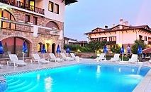 Нощувка на човек със закуска и вечеря + вътрешен и външен басейн, джакузи и парна баня в хотел Винпалас, Арбанаси