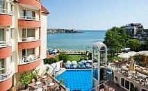 Нощувка в двойна стая на човек със закуска + басейн в хотел Вила Лист****, на първа линия в Созопол