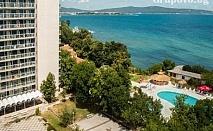 Ранни записвания за море на 1-ва линия в Китен! Нощувка на човек, закуска, обяд и вечеря + басейн, шезлонг и чадър от хотел Кремиковци